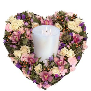 Pastel Heart and Candle Arrangement